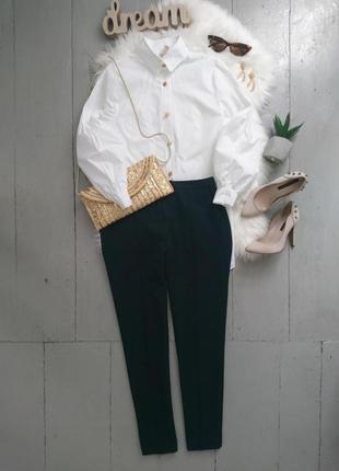 Актуальные зауженные классические брюки цвет морской волны №28max