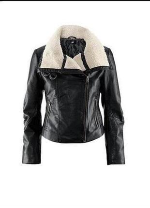 H&m куртка косуха с овчиной кожанка с подкладкой утепленная теплая