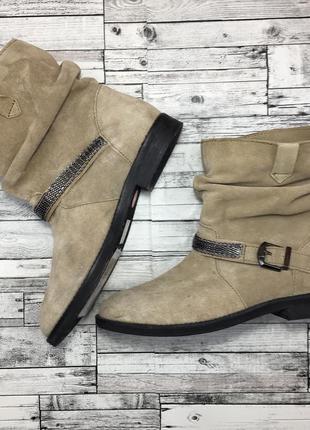Замшевые ботинки сапоги promod бежевые без каблука кожаные замша казаки гормошкой