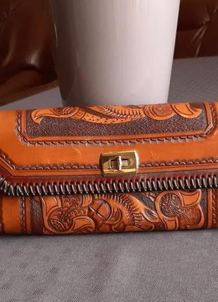 Кожаный красивый клатч hand made