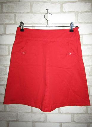 Красная юбка трапеция р-р xs-s бренд h&m