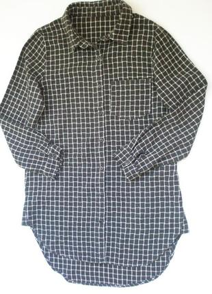 Удлиненная рубашка в клетку с длинным рукавом