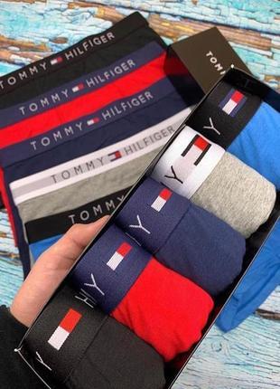 Набор боксеров tommy hilfiger из 5 шт черный, синий, сапфир, красный, серый