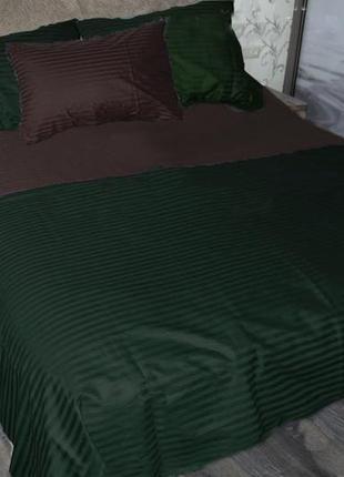 Постельное бельё комплект страйп сатин шоколад+зеленый