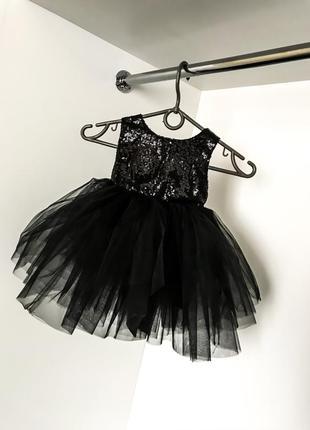 Вечерне нарядное красивое платье младенца девочки чёрное пайетки фатин открытая спинка