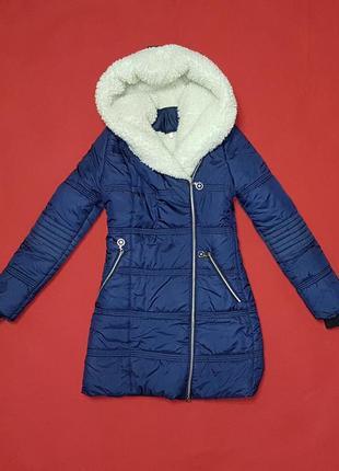 Зимнее пальто дутик на овчине