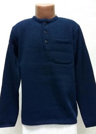 Вязаный темно синий джемпер для мальчика дайс