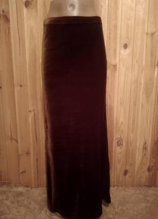 Бархатная макси юбка