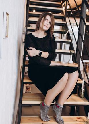 Черная бархатная юбка миди
