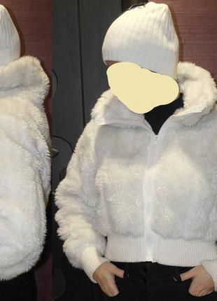 Young dimension шубка белая короткая меховая курточка