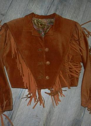 М/40 vera pelle,италия!рыжая ковбойская кожаная куртка с бахромой,натуральная замша