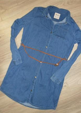 Джинсовое платье - рубашка на 12-13лет