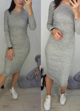 Новое платье ангора софт, тёплое ,светлый меланж, 42-44