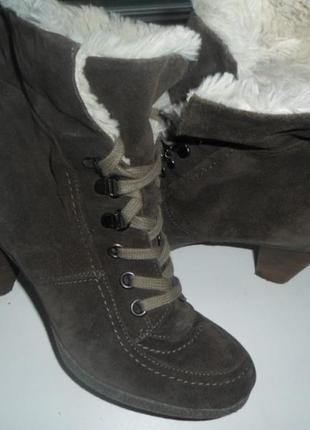 Натуральные замшевые утепленные сапоги, ботинки 38