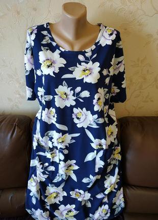 Туника платье для дома цветы, батал, большие размеры, 54-56-58