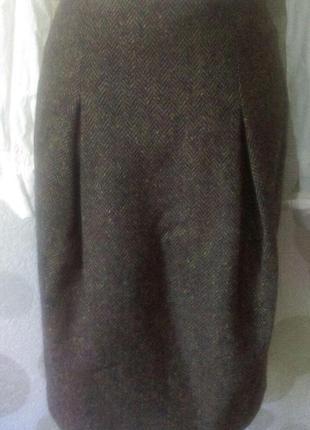 Шерстяная твидовая юбка  с карманами