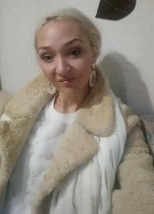Практичная теплая и красивая шуба пальто натуральная овчина