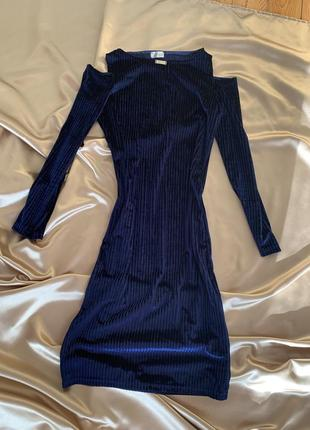 Платье синее бархатное