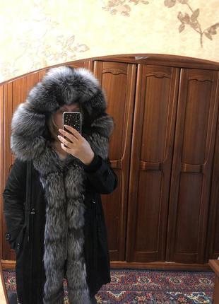 Куртка парка з хутром фінська чорнобурка