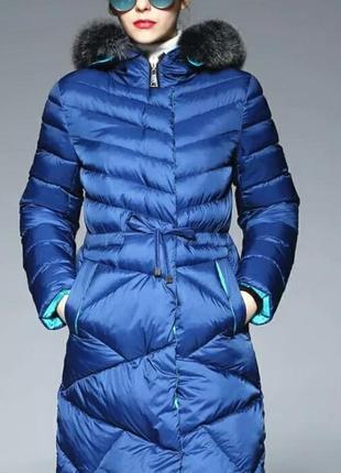 Зимнее женское пальто пуховик парка синий стеганый
