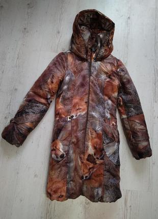 """Дутая куртка-пуховик принт """"лисички"""" с большими карманами."""