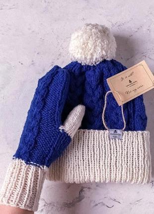❄ вязаный комплект, шапка и варежки синего цвета с белым отворотом ❄