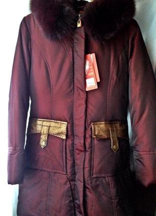 Пуховик цвета бордо зимний пальто мех натуральный