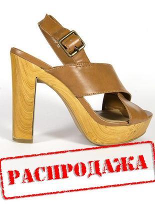 Коричневые босоножки на устойчивом каблуке, бежевые босоножки на каблуке1 фото