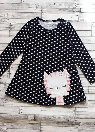 Есть размеры! крутое платье в горох для девочки кот котик