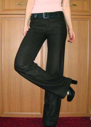 Теплые плотные шерстяные брюки клеш от бедра, широкие цвета хаки италия