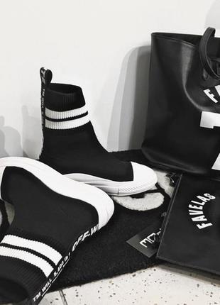 Высокие кроссовки носки off white
