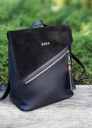 Сумка-рюкзак натуральная замша, экокожа