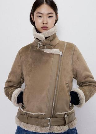 Куртка дубленка из замши и искусственной овчины zara