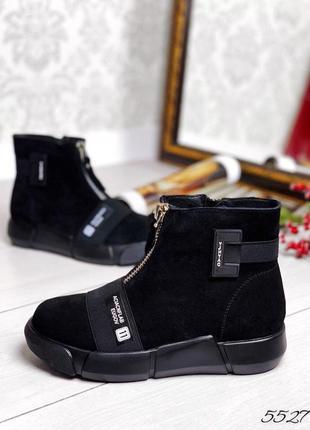 Стильные демисезонные ботинки, натуральная замша