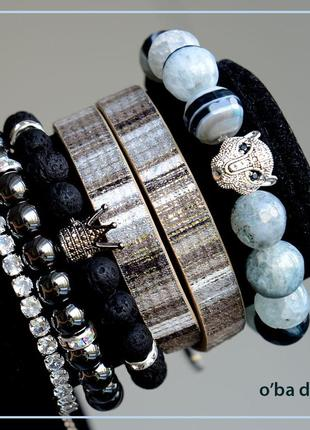 Набор браслетов из полудрагоценных камней, авторская работа