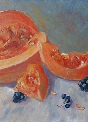 Картина маслом живопись оранжевая тыква