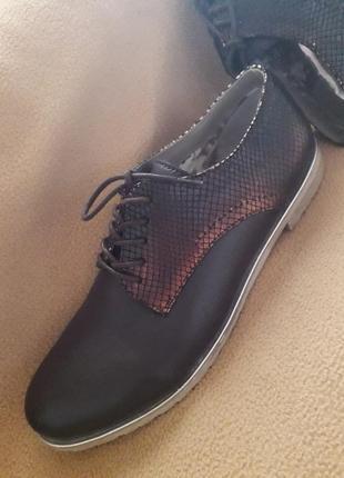 Кожаные туфли оксфорды с отделкой рептилии от mattea италия