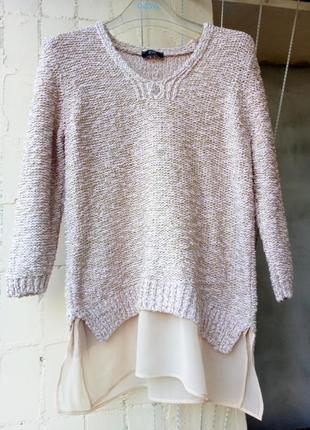 Розовый кремовый пудровый с золотой нитью свитер обманка туника свитшот джемпер от f&f