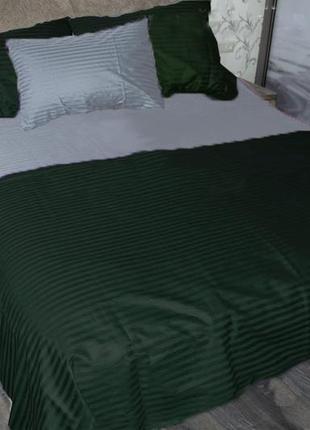 Постельное бельё комплект страйп сатин серый+зеленый
