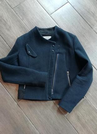 Полупальто короткое пальто косуха zara шерстяное
