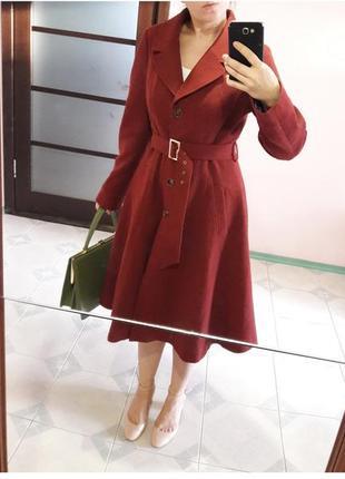 44-46 р пальто миди терракотовое женственное стиль dior 60-х с поясом