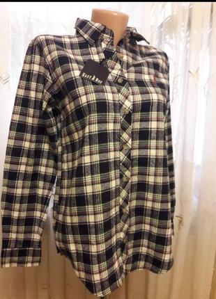 Теплая рубашка в клетку с длинным рукавом