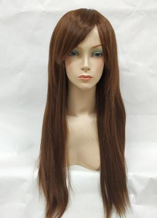 Парик прямой светло-коричневый с косой челкой 3751