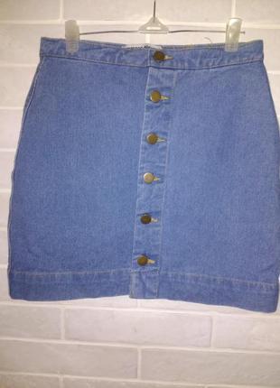 Джинсовая юбка на пуговках трапеция