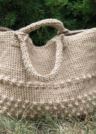 Корзина-сумка плетеная джутовая 45*34*10 см
