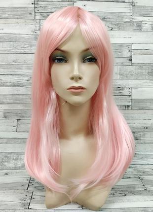 Парик прямой с косой челкой розовый 5786