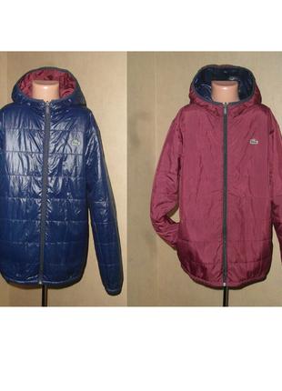Куртка lacoste демисезонная двухсторонняя на мальчика рост 164см