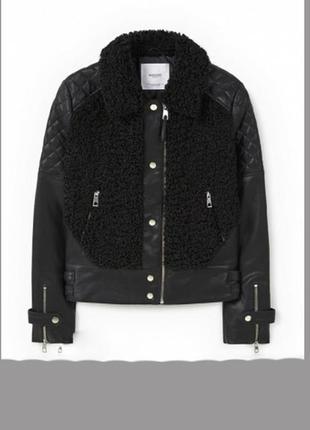 Очень стильная и необычная куртка косуха, с вставкой овчины+подарок