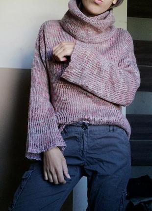 Полупрозрачный шерстяной свитер пуловер кофта h&m джемпер меланжевой