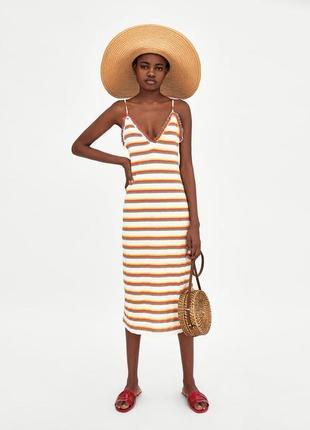 Платье сарафан в горизонтальную полоску на тонких бретелях длины миди от zara